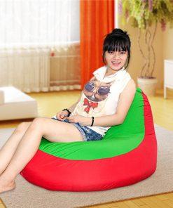 Ghế lười quả lê màu Đỏ - Xanh (Chất liệu nhung lạnh Hàn Quốc) Size M