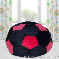 Ghế lười hình trái banh QB005 Black – Red (Chất liệu Nhung lạnh hàn quốc) Size M