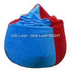 Gối lười hạt xốp hình giọt nước phối màu Xanh-đỏ GL133 (Chất liệu Nhung lạnh hàn quốc) Size M