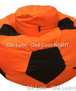 Ghế lười hình trái banh QB009 cam – đen (Chất liệu Kate Phi) Size L