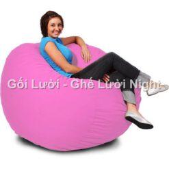 Ghế lười Trụ tròn (hình trứng) màu Hồng phấn GL174 Chất liệu Kate Phi Size M