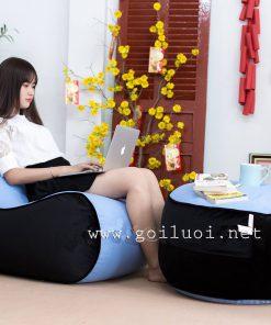 Ghế lười hạt xốp hình sofa GL207 màu Xanh - đen (Chất liệu Nhung Cao Cấp)