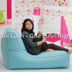 Ghế lười hạt xốp hình sofa GL169 phối màu Xanh Ngọc (Chất liệu Kate phi mát lạnh)