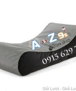 Gối lười hạt xốp kiểu giường lười GL036 phối màu Xám - Đen (Chất liệu Nhung lạnh hàn quốc)