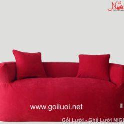 Trọn Bộ Ghế lười hạt xốp có tay vịn màu đỏ 2 người ngồi GL096 (Chất liệu Nhung lạnh Hàn Quốc)
